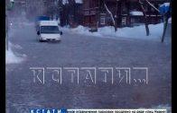 Из-за сильных морозов на улице Ковалихинской разлилось озеро