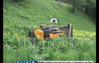 Трактор сорвался вниз с Верхневолжской набережной